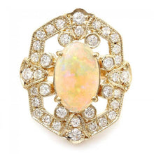 Load image into Gallery viewer, 4.20 Carats Natural Impressive Ethiopian Opal and Diamond 14K Solid Yellow Gold Ring