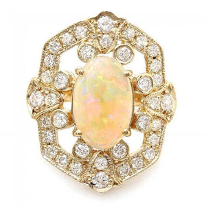 4.20 Carats Natural Impressive Ethiopian Opal and Diamond 14K Solid Yellow Gold Ring