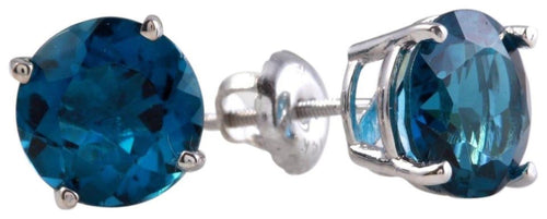 Exquisite Top Quality 4.50 Carats Natural London Blue Topaz 14K Solid White Gold Stud Earrings