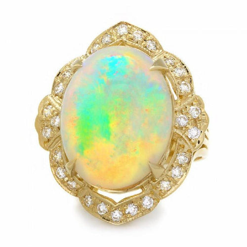 14.65 Carats Natural Impressive Ethiopian Opal and Diamond 14K Solid Yellow Gold Ring
