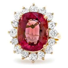 Load image into Gallery viewer, 8.85 Carats Natural Very Nice Looking Tourmaline and Diamond 14K Solid Yellow Gold Ring