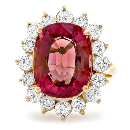 8.85 Carats Natural Very Nice Looking Tourmaline and Diamond 14K Solid Yellow Gold Ring