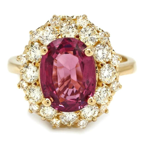 5.25 Carats Natural Very Nice Looking Tourmaline and Diamond 14K Solid Yellow Gold Ring