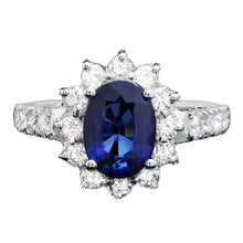 Load image into Gallery viewer, 3.15 Carats Exquisite Natural Blue Sapphire and Diamond 14K Solid White Gold Ring