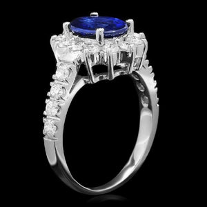 3.15 Carats Exquisite Natural Blue Sapphire and Diamond 14K Solid White Gold Ring