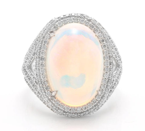 9.00 Carats Natural Impressive Ethiopian Opal and Diamond 14K Solid White Gold Ring