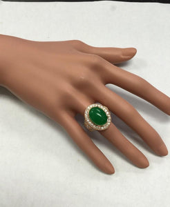 11.00 Carats Natural Green Jade Jadeite and Diamond 14K Solid Rose Gold Ring