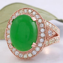 Load image into Gallery viewer, 11.00 Carats Natural Green Jade Jadeite and Diamond 14K Solid Rose Gold Ring