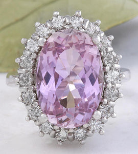 12.02 Carats Exquisite Natural Pink Kunzite and Diamond 14K Solid White Gold Ring