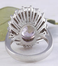 Load image into Gallery viewer, 12.02 Carats Exquisite Natural Pink Kunzite and Diamond 14K Solid White Gold Ring