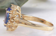 Load image into Gallery viewer, 3.84 Carats Natural Very Nice Looking Tanzanite and Diamond 14K Solid Yellow Gold Ring