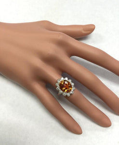 5.90 Carats Exquisite Natural Madeira Citrine and Diamond 14K Solid White Gold Ring
