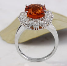Load image into Gallery viewer, 5.90 Carats Exquisite Natural Madeira Citrine and Diamond 14K Solid White Gold Ring