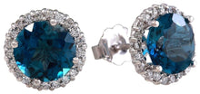 Load image into Gallery viewer, Exquisite 4.55 Carats Natural London Blue Topaz and Diamond 14K Solid White Gold Stud Earrings