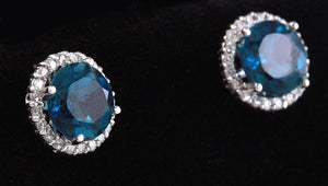 Exquisite 4.55 Carats Natural London Blue Topaz and Diamond 14K Solid White Gold Stud Earrings