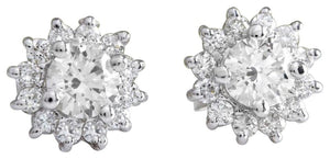 Exquisite 0.80 Carats Natural Diamond 14K Solid White Gold Stud Earrings