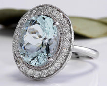 Load image into Gallery viewer, 7.26 Carats Natural Aquamarine and Diamond 14K Solid White Gold Ring