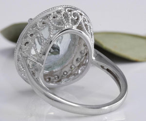7.26 Carats Natural Aquamarine and Diamond 14K Solid White Gold Ring