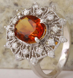 3.46 Carats Exquisite Natural Madeira Citrine and Diamond 14K Solid White Gold Ring