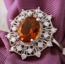 Load image into Gallery viewer, 3.46 Carats Exquisite Natural Madeira Citrine and Diamond 14K Solid White Gold Ring