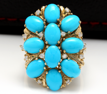 Load image into Gallery viewer, 6.80 Carats Impressive Natural Turquoise and Diamond 14K Yellow Gold Ring