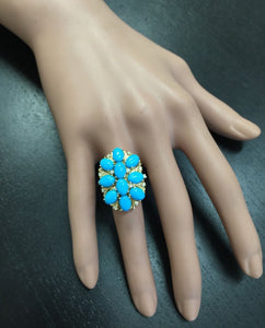 6.80 Carats Impressive Natural Turquoise and Diamond 14K Yellow Gold Ring