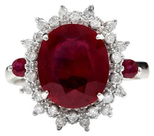 Load image into Gallery viewer, 7.75 Carats Impressive Red Ruby and Diamond 14K White Gold Ring