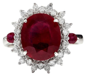 7.75 Carats Impressive Red Ruby and Diamond 14K White Gold Ring