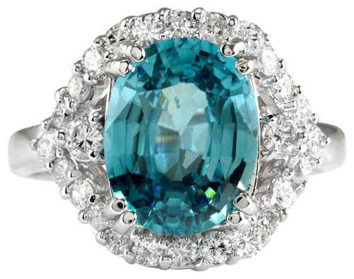 6.00 Carats Natural Very Nice Looking Blue Zircon and Diamond 14K Solid White Gold Ring