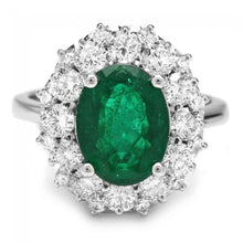 Load image into Gallery viewer, 4.85 Carats Natural Emerald and Diamond 14K Solid White Gold Ring