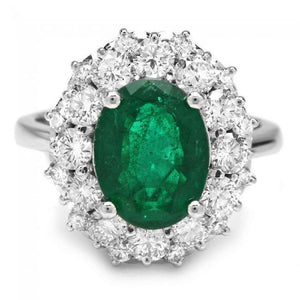 4.85 Carats Natural Emerald and Diamond 14K Solid White Gold Ring