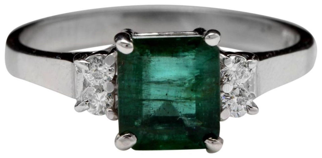 1.82 Carats Natural Emerald and Diamond 14K Solid White Gold Ring
