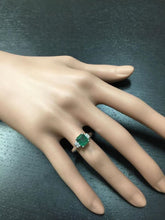 Load image into Gallery viewer, 1.82 Carats Natural Emerald and Diamond 14K Solid White Gold Ring