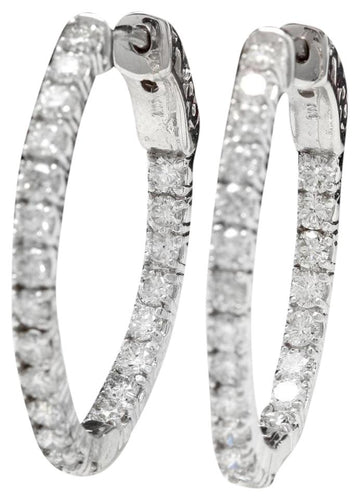 Exquisite 1.95 Carats Natural Diamond 14K Solid White Gold Hoop Earrings
