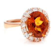 Load image into Gallery viewer, 2.70 Carats Exquisite Natural Madeira Citrine and Diamond 14K Solid Rose Gold Ring