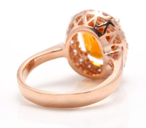 2.70 Carats Exquisite Natural Madeira Citrine and Diamond 14K Solid Rose Gold Ring
