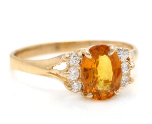 1.65 Carats Exquisite Natural Orange Sapphire and Diamond 14K Solid Yellow Gold Ring