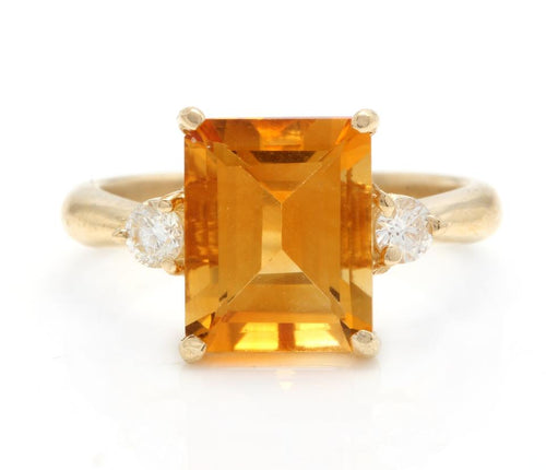 3.48 Carats Impressive Natural Citrine and Diamond 14K Yellow Gold Ring