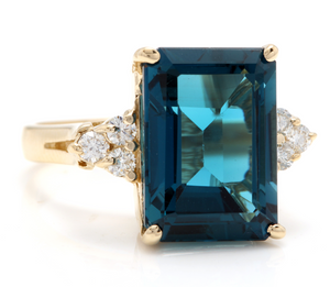 9.85 Carats Natural Impressive LONDON BLUE TOPAZ and Diamond 14K Yellow Gold Ring