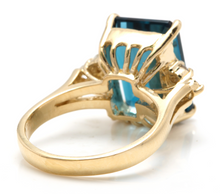 Load image into Gallery viewer, 9.85 Carats Natural Impressive LONDON BLUE TOPAZ and Diamond 14K Yellow Gold Ring
