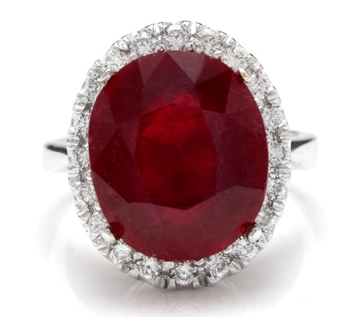 13.30 Carats Impressive Natural Red Ruby and Diamond 14K White Gold Ring