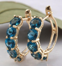 Load image into Gallery viewer, Exquisite Top Quality 2.60 Carats Natural London Blue Topaz 14K Solid Yellow Gold Huggie Earrings