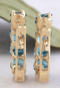 Exquisite Top Quality 2.60 Carats Natural London Blue Topaz 14K Solid Yellow Gold Huggie Earrings