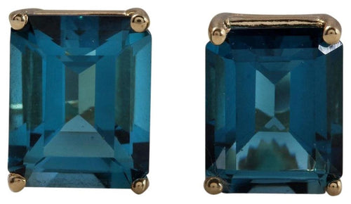 Exquisite Top Quality 7.45 Carats Natural London Blue Topaz 14K Solid Yellow Gold Stud Earrings