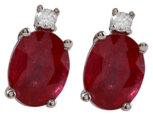 Exquisite 4.18 Carats Natural Red Ruby and Diamond 14K Solid White Gold Stud Earrings
