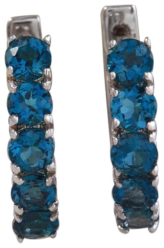 Exquisite Top Quality 2.80 Carats Natural London Blue Topaz 14K Solid White Gold Huggie Earrings