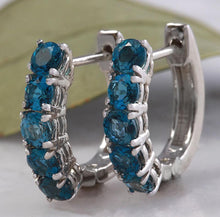 Load image into Gallery viewer, Exquisite Top Quality 2.80 Carats Natural London Blue Topaz 14K Solid White Gold Huggie Earrings