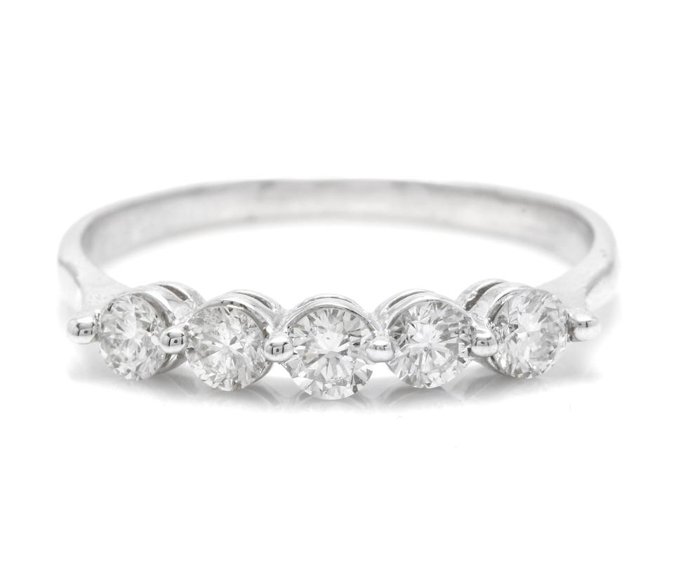 Splendid 0.90 Carats Natural Diamond 14K Solid White Gold Ring