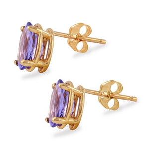 Exquisite Top Quality 2.00 Carats Natural Tanzanite 14K Solid Yellow Gold Stud Earrings