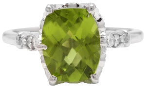 3.00 Carats Impressive Natural Peridot and Diamond 14K White Gold Ring